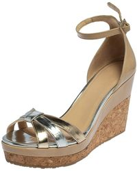 Jimmy Choo Beige Patent And Gold/silver Leather Cork Wedge Platform Ankle Strap Sandals - Natural