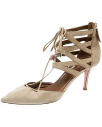Aquazzura Beige Suede Belgravia Lace Up Pointed Toe Court Shoes 41 - Natural