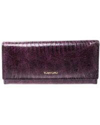 Tom Ford Purple Lizard Continental Wallet