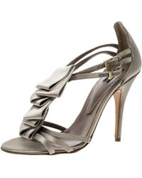 Etro Beige Satin Ruffle Detail Ankle Strap Sandals Size 38 - Natural