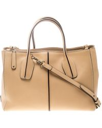 Tod's Beige Leather D-styling Shopper Top Handle Bag - Natural