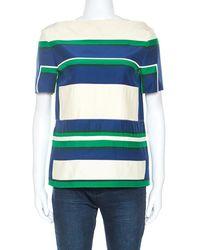 Céline Colour Block Silk Patched Detail Short Sleeve Top M - Multicolour