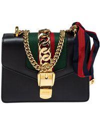 Gucci Black Leather Mini Web Chain Sylvie Shoulder Bag