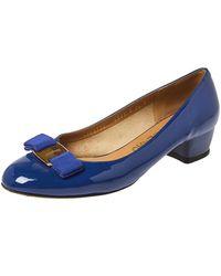 Ferragamo Blue Patent Leather Vara Bow Court Shoes