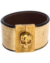 Alexander McQueen Gated Skull Gold Tone Leather Wide Bracelet - Metallic