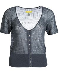 Catherine Malandrino Gray Perforated Knit Button Front Crop Top