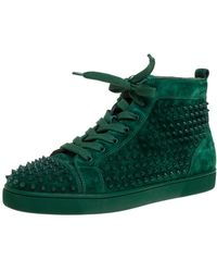 Christian Louboutin Green Suede Leather Louis Spikes High Top Trainers