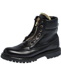 Balmain Black Leather Zip Front Ranger Boots Size 40