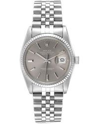 Rolex Gray 18k White Gold And Stainless Steel Datejust 16014 Men's Wristwatch 36 Mm