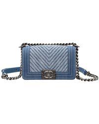 Chanel Blue Denim Chevron Boy Small Flap Crossbody Bag