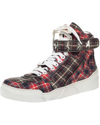Givenchy Multicolour Plaid Leather Tyson Star Studded High Top Trainers Size 45
