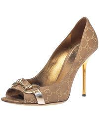 Gucci - Brown GG Canvas Horsebit Peep Toe Pumps - Lyst