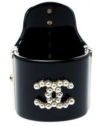 Chanel Cc Black Resin Faux Pearls Embedded Asymmetric Cuff Bracelet