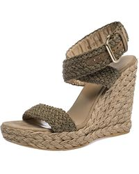 Stuart Weitzman Khaki Woven Fabric Espadrille Wedge Sandals Size 39 - Green