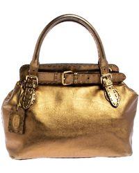 Fendi Gold Selleria Leather Villa Borghese Tote - Metallic