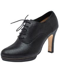 Repetto Black Leather Lace Up Platform Booties