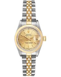 Rolex Champagne 18k Yellow Gold And Stainless Steel Datejust 69173 Women's Wristwatch 26 Mm - Metallic