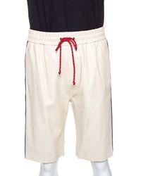 Gucci Cream Leather Stripe Detail Drawstring Waist Shorts - Multicolour