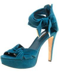 Louis Vuitton - Teal Suede Platform Sandals - Lyst