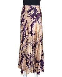 Roberto Cavalli Imperial Purple Floral Printed Silk Flared Skirt