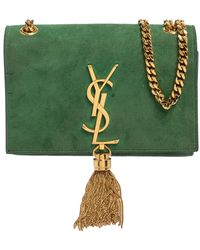 Saint Laurent Saint Laurent Green Suede Small Kate Tassel Crossbody Bag