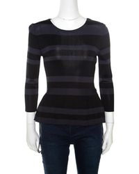 Dior - And Black Striped Knit Long Sleeve Peplum Top S - Lyst