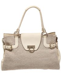 Ferragamo Cream Woven Straw And Lizard Embossed Leather Satchel - Natural