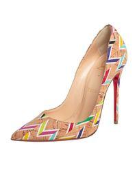 Christian Louboutin Multicolour Chevron Cork So Kate Court Shoes