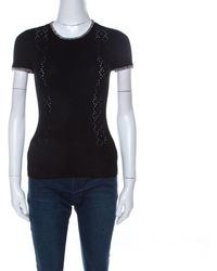 Chanel Black Ribbed Knit Coco Cuba Short Sleeve Top M