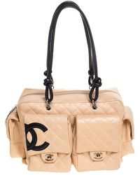 Chanel Beige Quilted Leather Ligne Cambon Reporter Bag - Natural