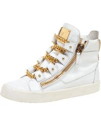 Giuseppe Zanotti White/gold Leather Royce Chain High Top Trainers