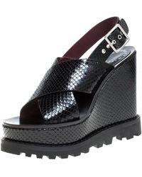 Marc Jacobs Marc By Black Python Embossed Leather Irving Platform Wedge Sandals