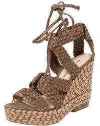 Paloma Barceló Beige Woven Suede Ankle Wrap Espadrille Platform Wedge Sandals - Natural