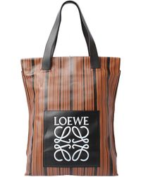 Loewe Brown/black Leather Striped Tote Bag