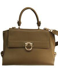63b942c68acc Ferragamo /brown Leapard Print Calf Hair And Python Medium Sofia Top Handle  Bag in Black - Lyst