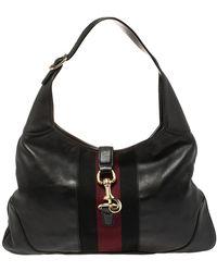 Gucci Black Leather Web Jackie O Hobo