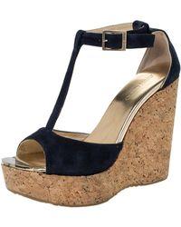 Jimmy Choo Blue Suede Pela Cork Wedge Ankle Strap Platform Sandals