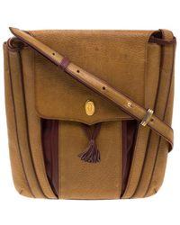 Cartier Tan/burgundy Leather Must De Shoulder Bag - Brown