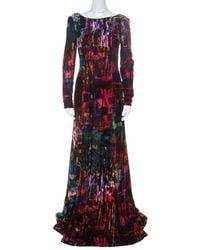 Erdem Multicolor Printed Velvet Slit Detail Daniella Gown - Red
