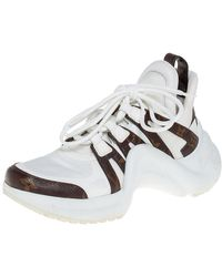 Louis Vuitton White/brown Leather And Monogram Canvas Archlight Trainers