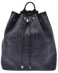 Chanel Black Tweed Deauville Backpack