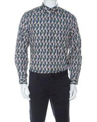 Prada Multicolour Graphic Printed Cotton Button Front Shirt - Blue