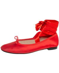 Repetto Red Satin Anna Bow Ballerina Ankle Wrap Flats