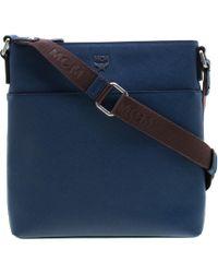 MCM - Blue Leather Ottamar Messenger Bag - Lyst