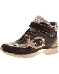Chanel - Woolen Tweed And Metallic Leather Lace Up Sneakers - Lyst