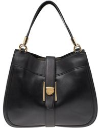 Ferragamo Black Leather Hobo