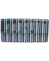 Diane von Furstenberg Blue Leather Suede Stripe East West Envelope Clutch