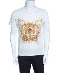 Just Cavalli White Metallic Skull Print Short Sleeve T-shirt