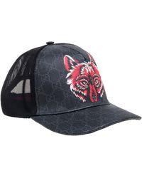 Gucci Grey Fox Print Canvas GG Supreme Baseball Cap