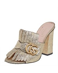 Gucci Metallic Gold Foil Leather GG Marmont Fringe Mules